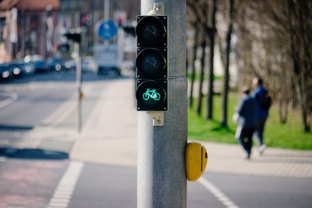Green traffic street light or signal lamp for bicycle