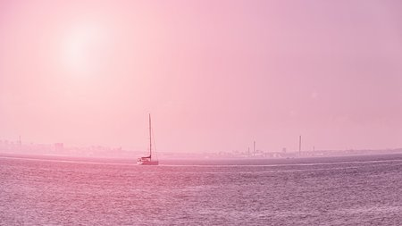 Sailing boat on the calm sea. Pink pastel toned. Fish eye effect. 16:9 panoramic format