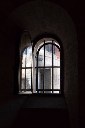 Open window in an old church. St. Josephs church, Nazareth, Israel. Details Stock Photo