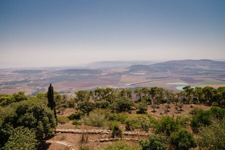Beautiful view from Mount Tavor to the Jezreel Valley near Nazareth in Israel
