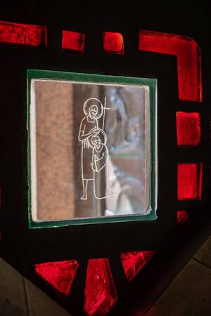 September 18, 2019, Nazareth, Israel. Basilica of Annunciation, stained glass window. Fragment, details Editorial