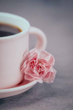 Pink cup of black coffee and one pink carnation flower on a gray concrete background