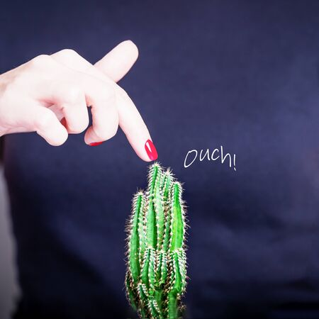 Female hand with red nail polish and green cactus. Ouch. Prickly prick. Black background