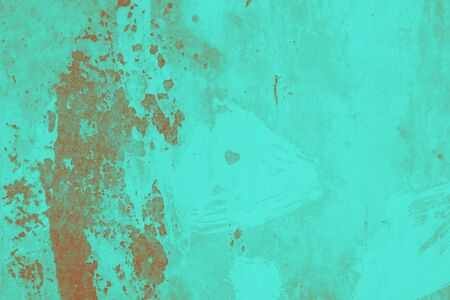 Green brown gradient rusty metal surface with heart. Old cracked paint pattern, cracking texture background