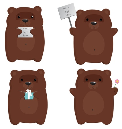 four cute cartoon brown bears in different poses Stock Vector - 10485956