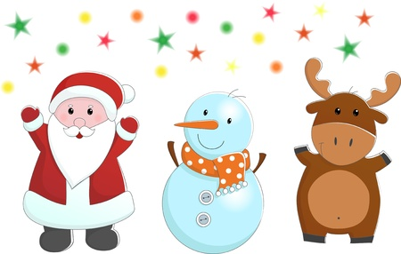santa clause: set of vector characters like santa, snowman and deer