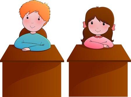 Cute vector illustration with boy and girl sitting at the school desk Vector