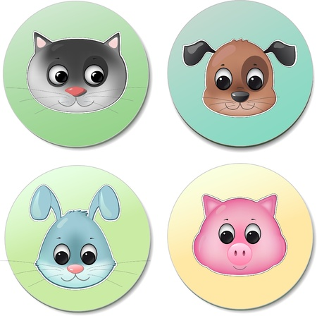 grey cat: vector icon set of different cute animal faces smiling like pig dog cat rabbit Illustration