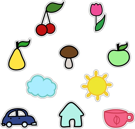colorful sticker: vector stickers like fruits sun cloud car flower cup mushroom home isolated on white background Illustration