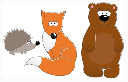 hedgehog: cute vector illustration with  fox, bear, hedgehog isolated on white background