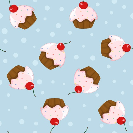 vector seamless pattern with cute cupcakes with cherry isolated on blue background decorated with dots  Vector