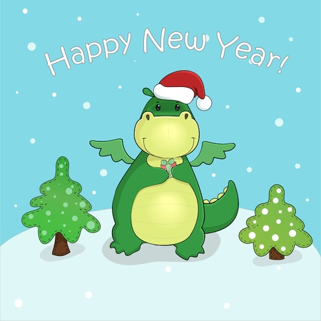 christmas dragon: vector card with cute cartoon dragon with gift and christmas trees