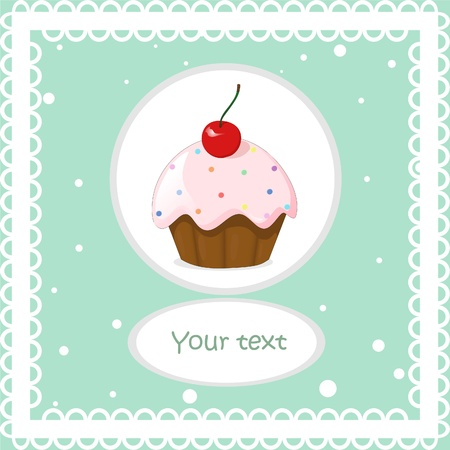 cute vintage vector card with cake and cherry  Vector