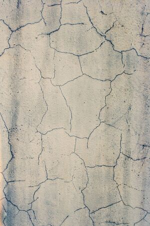 Grunge abstract background. Cracked old white stucco. It looks like dried ground in the desert. Vertical frame. Standard-Bild - 129230504