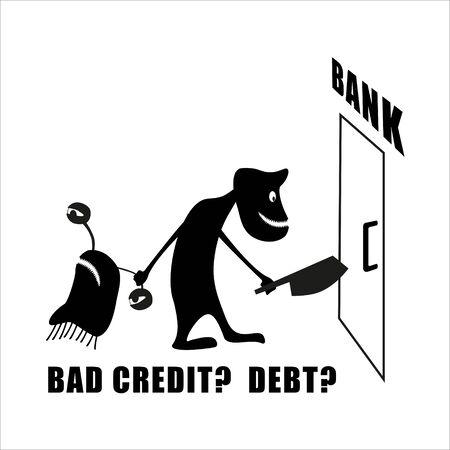 斧を持つ邪悪な銀行家は、銀行に債務者をドラッグします。信用が悪い?利息ローン。面白いかわいいシルエットの生き物。孤立したクリッターが手
