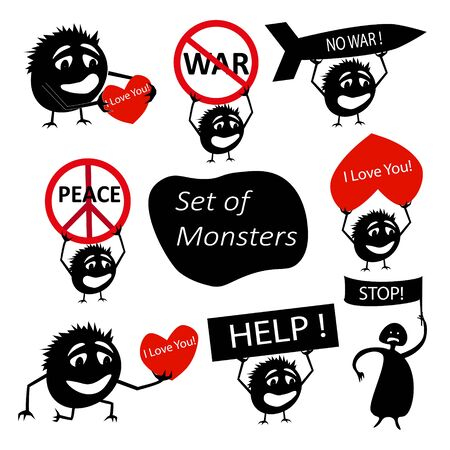 Set of funny cute silhouette demonstrators creatures with slogans and call to action. Isolated Critters hand-drawn. All monsters are grouped.