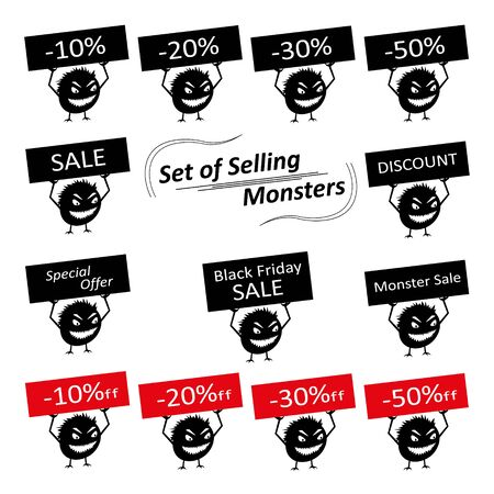 Set of funny cute silhouette creatures with discount signs for the store. Isolated Critters hand-drawn. All monsters are grouped.  イラスト・ベクター素材