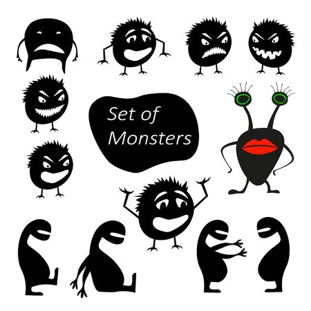 Set of funny cute silhouette creatures with different emotions. Isolated Critters hand-drawn. Design for print on t-shirts. All monsters are grouped.