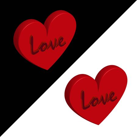 Volumetric red heart 3D with the word love. Symbol of love and fidelity for Valentines Day. Vector illustration.