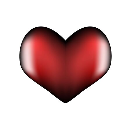 Dark red heart 3d. Symbol of love and fidelity for Valentines Day. Realistic symmetrical shape with highlights on the edges. Vector illustration.  イラスト・ベクター素材