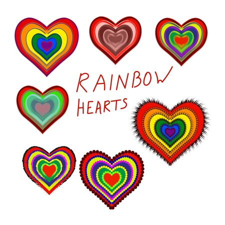 Set of flat multicolored rainbow hearts. Symbol of love and fidelity at a wedding or Valentines Day. As well as a symbol of LGBT love with traditional colors. Vector illustration.