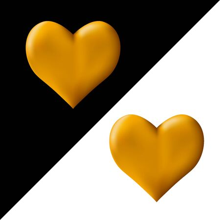 Golden 3D heart on a black and white background. Symbol of love and fidelity. Vector.