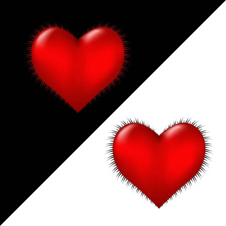 Red furry 3d heart on a black and white background. Symbol of love and fidelity. Vector.