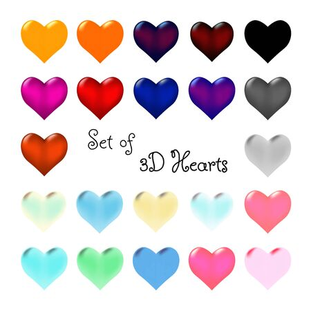 Set of colored 3d hearts. Symbol of love. Different colors on different backgrounds. Isolated decorations for sites and banners. Vector. Çizim