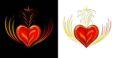 Red heart with a beautiful gold ornament on a black and white background. It will look great when printing on t-shirts. And also on banners for Valentines Day. 写真素材