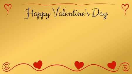 Valentines day postcard with a gold background and red hearts and ornament. Copy space. Vector illustration.