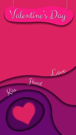 Bright greeting card for Valentine's day in pink tones in the style of paper cut. A board with an inscription hangs on top of the ropes. Words on the waves. Copy space. Vector illustration. Vertical frame.