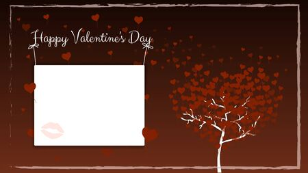 Postcard for Valentines Day in brown with a frame. A tree with balloons in the shape of hearts instead of leaves. A copy space with the imprint of female lips hanging on the ropes. Vector illustratio