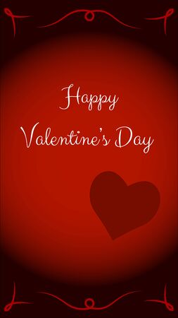 Valentines day card with red background. Bright red circle in the center with white text and a heart. On the edge is a dark red color with an ornament. Vertical vector illustration.  イラスト・ベクター素材
