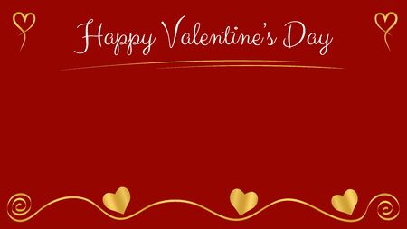 Valentines day card with red background. Golden ornament and hearts. White text. Copy space in the center. Vector illustration.