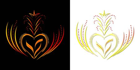 Beautiful golden heart-shaped ornament with patterns on a black and white background. It will look great when printing on t-shirts. And also on banners for Valentines Day.