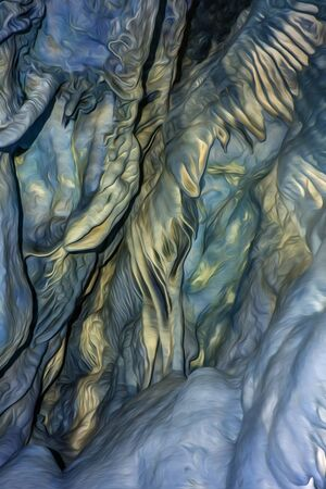 The natural texture of the cave with growths on the walls in digital processing in the style of the drawings of Giger. Smooth texture. Blue and yellow color. Soft light and shapes. Vertical. 写真素材