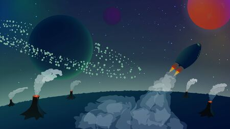 Space landscape with a rocket flying away from the planet with volcanoes. Asteroid belt around the planet. Beautiful smoke from rockets and volcanoes. Starry sky. Space flight. Vector illustration.