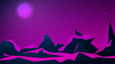 Futuristic polygonal night landscape with mountains and a wolf howling at the moon. Purple starry sky with moon and meteor shower. Vector illustration.  イラスト・ベクター素材