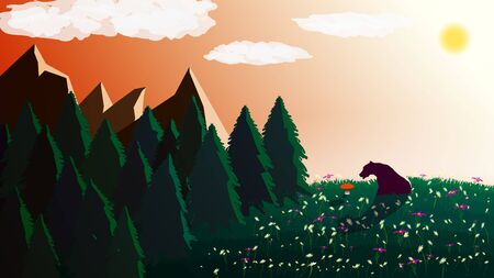 Polygonal landscape with a bear on a green lawn with flowers and a red mushroom. Coniferous forest and mountains on the background. There are clouds and the sun in the sky. Vector illustration.