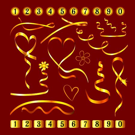 Set of gold ribbons and jewelry. Collection of shiny decorative elements in the form of hearts and flowers on Valentines Day. Set of numbers on gold plates. Isolated. Vector.  イラスト・ベクター素材