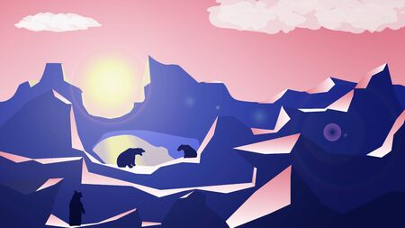Polygonal mountain landscape with bears by the lake and sunset. Pink sky with a yellow sun. Many layers of mountains for parallax. Vector illustration.