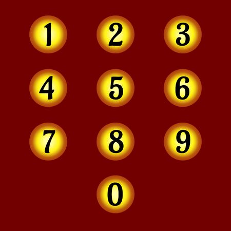 Set of individual numbers on gold circles. For expensive design banners, cards and sites. Vector.