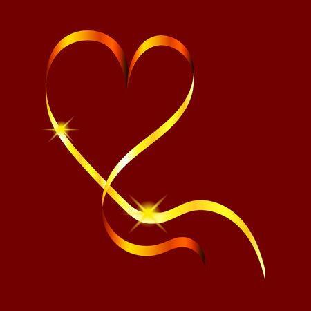 Golden swirling ribbon in the shape of a heart with shining stars. Design element for greeting cards for Valentines Day. For the design of banners, cards and sites, for frames. Vector.