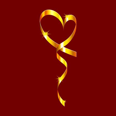 Gold swirling vertical ribbon in the shape of a heart with shining stars. Design element for greeting cards for Valentines Day. For the design of banners, cards and sites, for frames. Vector.  イラスト・ベクター素材