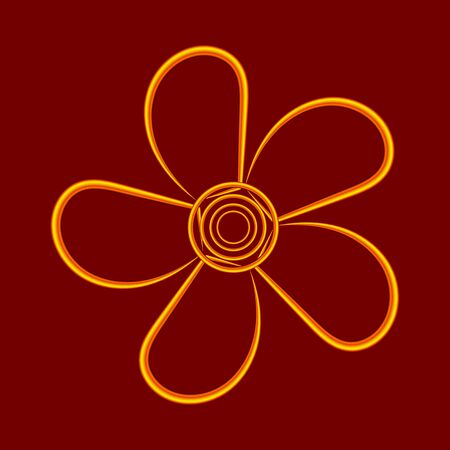 Contour flower made of gold wire. Design element for greeting cards for Valentines Day. For the design of banners, cards and sites, for frames. Vector.