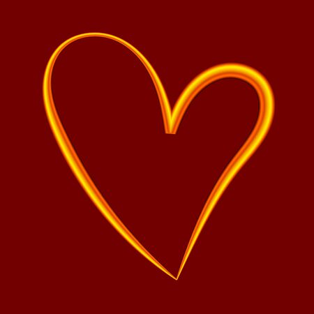 Gold wire contour heart. Design element for greeting cards for Valentines Day. For the design of banners, cards and sites, for frames. Vector.  イラスト・ベクター素材