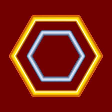 Contour hexagon of gold wire. Design element. For the design of banners, cards and sites, for frames. Vector.