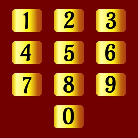 Set of individual numbers on gold plates. For expensive design banners, cards and sites. Vector.