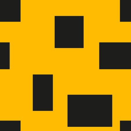 Seamless geometric pattern of rectangles of different sizes. Yellow background and black shapes. Vector.