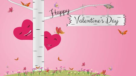 Greeting card for Valentines Day with birch, flowers, butterflies and hearts in pink. Two smiling hearts in love peep out from behind a birch. Multi-colored butterflies fly. Vector. Illusztráció